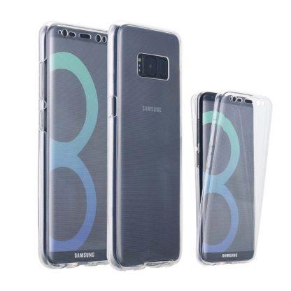 Coque 360 Intégrale Tactile Invisible silicone Galaxy S8 Face Avant Tactile Transparent et Face Arrière Silicone Transparent